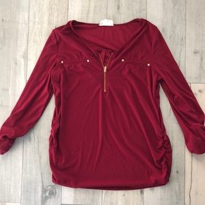 Red maternity blouse